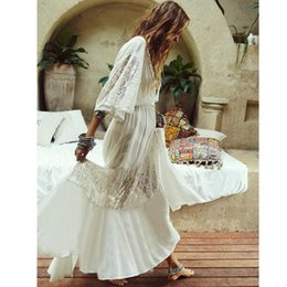 Wholesale deep v lace bikini online – 2020 Sexy Lace Beach Cover Up Women Deep V Beach Dress Tunics Bikini Swimwear Cover Up Holiday Dress Cardigan Summer Beach Wear T200417