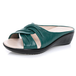 wedge leather sandals Australia - Fashion Summer Genuine Leather Open Toe Female Slippers Woman Flip Flops Summer Shoes Slip-On Med Heel Wedges Slides Sandals Women Shoes