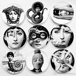 Creative Wall Hanging Round Ceramics Plates Home Coffee Shop Wall Decor Plates 6 Inch Printed Portrait Plates Durable Retro TQQ BH0728-2 on Sale