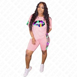 wholesale pink lip NZ - Women Tracksuit Designer Letters Camouflage Lips Printing Short Sleeves T Shirt Shorts Patchwork Two Pieces Outfits Casual Sports Suit D7713