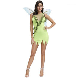 halloween costume wings NZ - Green Butterfly Fairy Costume Irregular Panelled See Through Womens Designer Dresses Theme Costume With Wing Halloween