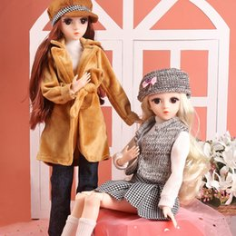 girls toys makeup UK - 1 4 BJD Doll 45CM 18 Ball Jointed Dolls With Full Fashion Outfits Clothes Set Hat Shoes Wig Makeup Girls DIY Dress UP Toys T200712