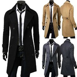 Wholesale mens double breasted coats for sale - Group buy 2020 England Style Men Wool Trench Coats Jacket Classic Slim Lapel Peacoat Mens Winter Double Breasted Long Coats Outerwear