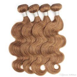 malaysian human hair 16 inch NZ - #30 Light Golden Brown Brazilian Body Wave Human Hair Bundles 3 4 Bundles 16-24 Inch Remy Human Hair Extensions China Wholesale