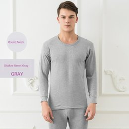 thin thermal underwear UK - Men's Warm Underwear and clothes clothes autumn pants men's slim cotton thin base thermal underwear set autumn and winter