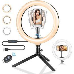 Luz de anillo led regulable con soporte de teléfono trípode para selfie transmisión en vivo y maquillaje en venta