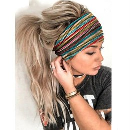 hairband designs 2020 - Simple Design Elastic Headbands Women Wide Elastic Headbands Fashion Print Rainbow Stripe Headband Hairband Accessories