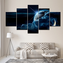 print large pictures NZ - 5 Pcs Set Large Abstract Earth View From Asteroid In Space Canvas Print Painting Still Life Earth Wall Art Picture Home Decor