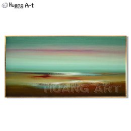 original seascape oil painting NZ - Original Art Abstract Oil Painting on Canvas for Home Decoration Handmade Fresh Green Color Abstract Seascape Wall Painting