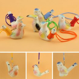 ceramic whistles wholesale NZ - Water Bird Whistle Ceramic Clay Bird Whistle Cartoon Children Gifts Mini Animal Peacock Whistles Retro Ceramic Craft Whistle BH3627 TQQ