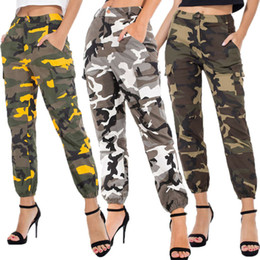 Wholesale cargo pants womens for sale - Group buy Womens Camo Cargo Pants Trousers Stylish Casual Pants Army Combat Camouflage Elastic Waist Sweatpants Plus Size