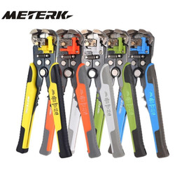 adjustable pliers UK - Meterk Cable Wire Stripper Automatic Crimping Tool Peeling Pliers Adjustable Terminal Cutter Wire multitool Crimper Y200321