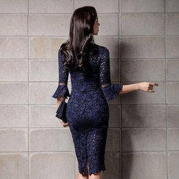 deep v neck lace bodycon UK - Hot Sexy Women Deep V Neck Bodycon Wrap Lace Floral Crochet Hollow Out Party Dresses Office Lady Knee Length Pencil Dress Juniors Part lKKW#