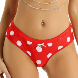 Wholesale lingerie christmas resale online - Women panties Underwear Christmas Holiday Costume Lingerie Low Rise Elastic Waistband White Sequins Polka Dots Briefs panties