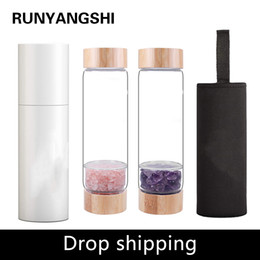 bamboo drink glasses UK - Drop shipping Natural Crystal Water Bottle Healing Obelisk Elixir Quartz Crystal Energized Healthy Drinking Glass Bamboo water