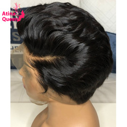 cut front hair Australia - Invisible Bleached Knots 13X4 Pixie Wig Human Hair Pre plucked Baby Hair 4X4 Bob Short Cut Remy Hair Black Women Lace Front Wig