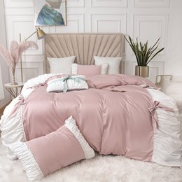 pink ruffle full bedding set UK - Princess 60s Cotton Pink Purple Luxury Bedding Sets Queen King Size Comforter Cover Solid Bows Candy Color Duvet Cover Bedsheet Sets Bed Set