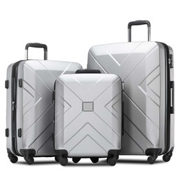 """3 Pcs Luggage Set, Portable ABS Trolley Case 20""""   24""""   28""""Silver, Expandable 8-Wheel Spinner Spinner Luggage Set with Telescoping Handle,"""