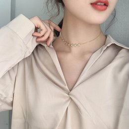 fishbone chain wholesale Canada - Korean-Style Golden Fishbone Triangle Shaped Design Sense Clavicle Chain Sexy Personality Asymmetric Necklace Female Fashion Necklace