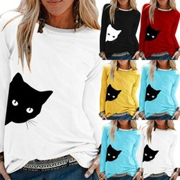 cats blouse Canada - Cute Cat Blouses Nbsp;Women Casual Cat Print Shirts O Neck Shirts Long Sleeve Women Tops And Blouse Shirt Pullover Blouse 20