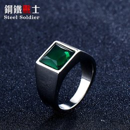 stainless steel ring blue stone Canada - steel soldier Titanium Ring for Man blue Green Square Stone 316L Stainless Steel Fashion high polish Ring for Boy