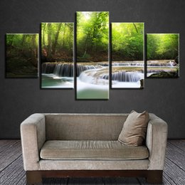 painting green Australia - Scenery Canvas Painting Wall Art 5 Pieces Waterfall Green Forest Pictures Home Decor Living Room Modular HD Printed Poster Frame