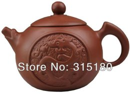 purple sand teapot Canada - Wholesale-Purple Sand Red Dragon and Phoenix Teapot Purple Clay Pot Chinese Gifts Ideal
