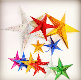 star layouts UK - Christmas Ornament 30cm Paper five-star star lampshade Christmas scene layout Paper Lanterns Decorations