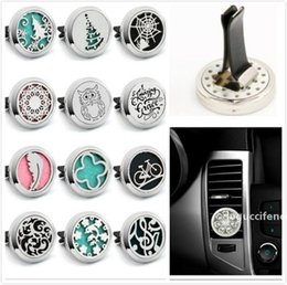 bottle magnets UK - 320 styles Car fragrance stainless steel hollow car air conditioning outlet vent perfume magnet open essential oil alloy Car Perfume Bottle