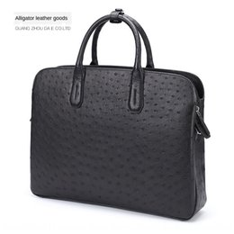 high end hand bags Australia - 15-inch business casual briefcase office South Africa computer Hand computer ostrich leather handbag men's leather high-end men's bag