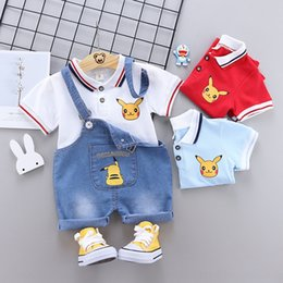 jeans girls suspenders Canada - Wtsht Korean style boys' lapel POLO and jeans Denim jeans short-sleeved all-match denim suspender pants children's new leisure children's su