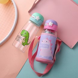 kettle designs NZ - DHL Shipping 700ml Plastic Portable Water Bottle With Covers Cartoon Designed Dinasour Creative Children Kids Adult Unisex Kettles FY4125