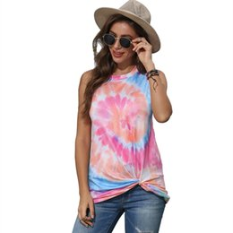 wholesale round neck tee shirts NZ - Fashion summer clothes sleeveless vest tops Tee Pullover Shirt Women's round neck tie-dye knotted printed vest T-shirt 3color CZ716