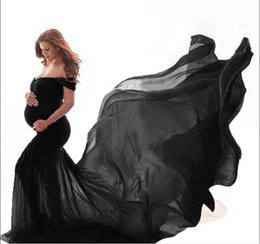 maternity props NZ - Maternity Dresses Women Pregnants Photography Props Off Shoulder Short sleeve Maternity Solid Dress robe de grossesse shooting