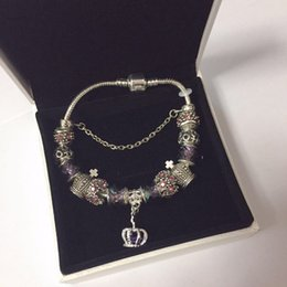 royal crown charm UK - 18 19 20 21CM Charm Bracelet 925 Silver plated Bracelets Royal Crown Accessories Purple Crystal Bead Diy Wedding Jewelry with box