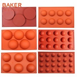 pudding silicone mold UK - BAKER DEPOT silicone mold for chocolate baking round silicone cake pastry bakeware form pudding jello soap mold bread candy D5iI#