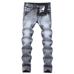Mens Jeans Vintage Grey Slim Fit Hetero Denim Jeans Masculino Long Pants Casual Retro Calças motociclista Plus Size