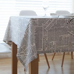 print tablecloths wholesale UK - Tablecloth American Country Creative English Letter Newspaper Cotton Linen Napkin Tablecloth Towel Dining Table Cloth Large Tablecloth uuN7#