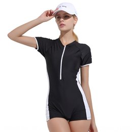 one piece swim suit sport UK - ObTAm Color matching one-piece swim Swimsuit women's belly covering sexy backless conservative training Sports one-piece boxer swimming suit