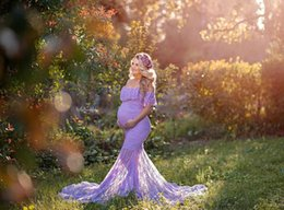 maternity props NZ - Long Maternity dressPhotography Props Pregnancy Dress Chiffon Photo Shooting Off Shoulder For Women Lotus leaf collar Maternity