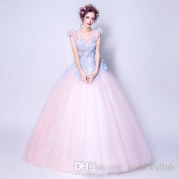 real cosplay UK - 100%real fairy light pink blue flowers fairy cosplay ball gown royal princess Medieval Renaissance Victorian dress Belle ball