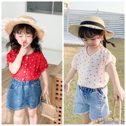 chicken spring Canada - E5ZAK Comianne 2020 children's wear Lace Children's clothing summer new girl's shirt Korean style love chicken heart collar short sleeve lac