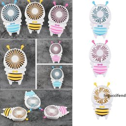 stock handle Australia - Handy USB Fan Mini Bee Handle Charging Electric Fans Thin Handheld Portable Luminous Night Light For Home Office Gifts 3 Colors