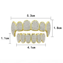 teeth fangs UK - Gold Silver Color Hip Hop Micro Pave Cubic Zircon Teeth Grillz Caps Top &Bottom Men Women Vampire Fangs Grills Set