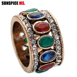 turkish rings Canada - Colorized Ellipse Resin Vintage Rings Women Antique Gold Color Broadside Ring Royal Jewelry Turkish Wedding Party Finger Bijoux