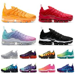 running shoes run Canada - Wholesale tn plus mens running shoes size 13 University gold Triple Red Pastel Mix Color Pink fashion women sneakers tns sports trainers