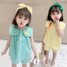 girls fruit clothes UK - wear girl's fruit clothing Children's suit new children's Korean style baby girl's foreign style cute fruit plaid suit