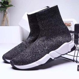 gold flat knee boots NZ - New Casual shoes Sneakers Speed Runner Fashion Shoes Sock Triple Black Boots Red Flat Trainer Men Women Casual Shoes Sport M1U