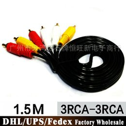 multimedia cable tv UK - 100Pcs Lot 1.5M 3M 5M 10M Audio And Video Cable 6-wire Three-color Line TV Lines