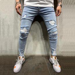 Wholesale tight light blue men for sale – denim Mens High Street Casual Feet Pants Fashion Ripped Jeans hombre Slim Tight Hole Denim Street Hip Hop Pants Men